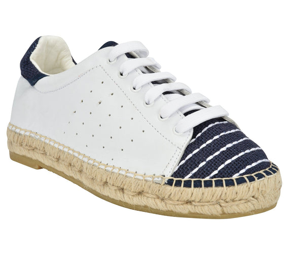 Terra White/Blue Linen Espadrille Sneaker - Shop comfortable sneaker, Sandals & high quality flats, wedges online!