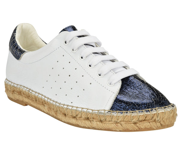 Terra Blue Crinkled leather Espadrille Sneaker - Andrew Stevens Footwear