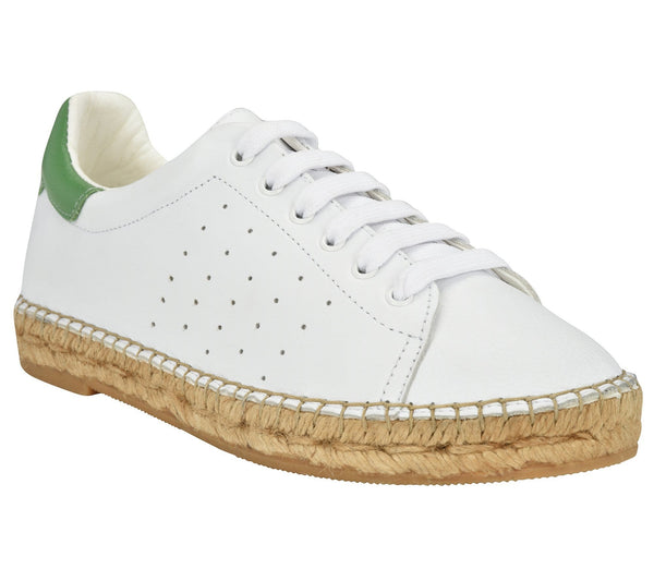Terra White/Green leather Espadrille Sneaker - Shop comfortable sneaker, Sandals & high quality flats, wedges online!