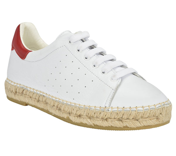 Terra White/Red Leather Espadrille Sneaker - Andrew Stevens Footwear