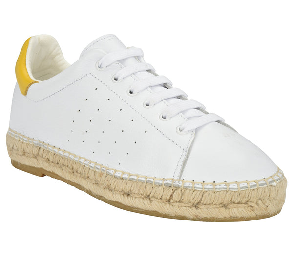 Terra Yellow/White leather Espadrille Sneaker - Shop comfortable sneaker, Sandals & high quality flats, wedges online!
