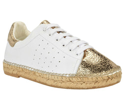 Terra white/Gold Crinkled leather Espadrille Sneaker - Andrew Stevens Footwear