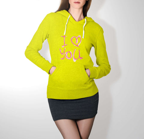 I Luv You - Love Hoodie For Women