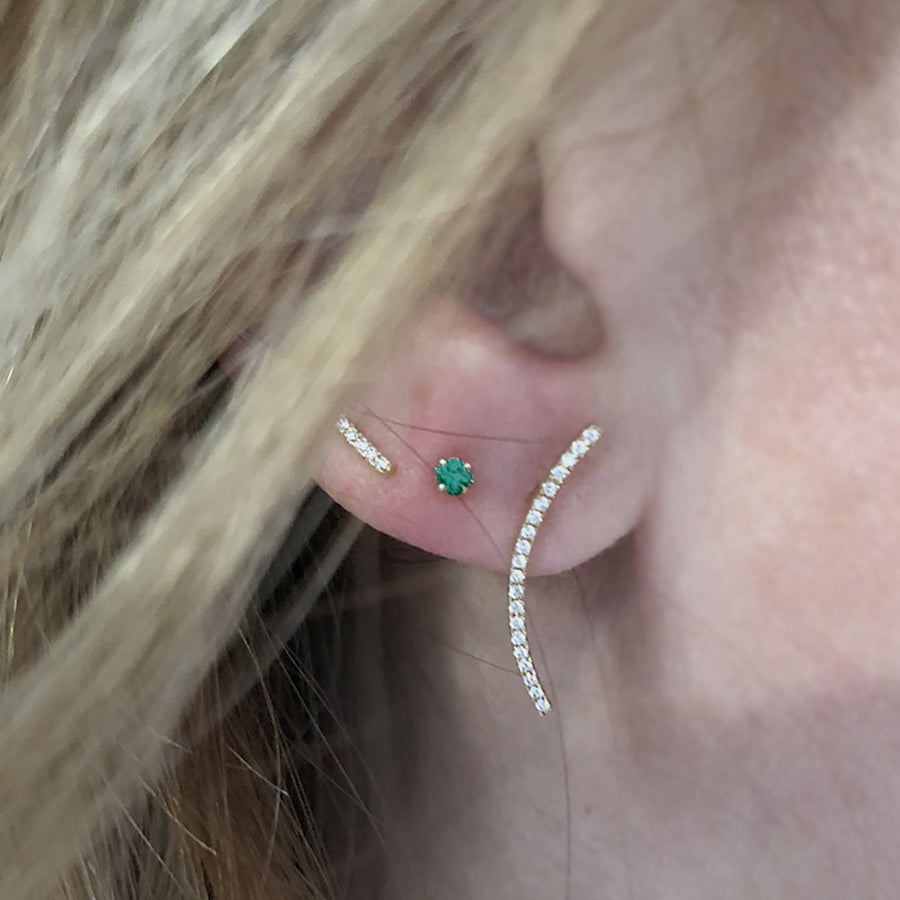 Small Emerald Dots Earrings