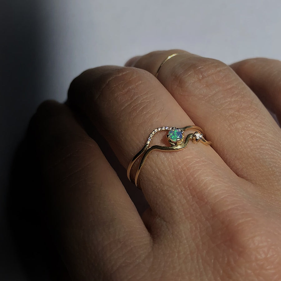 Wave Opal Ring in Solid Yellow Gold
