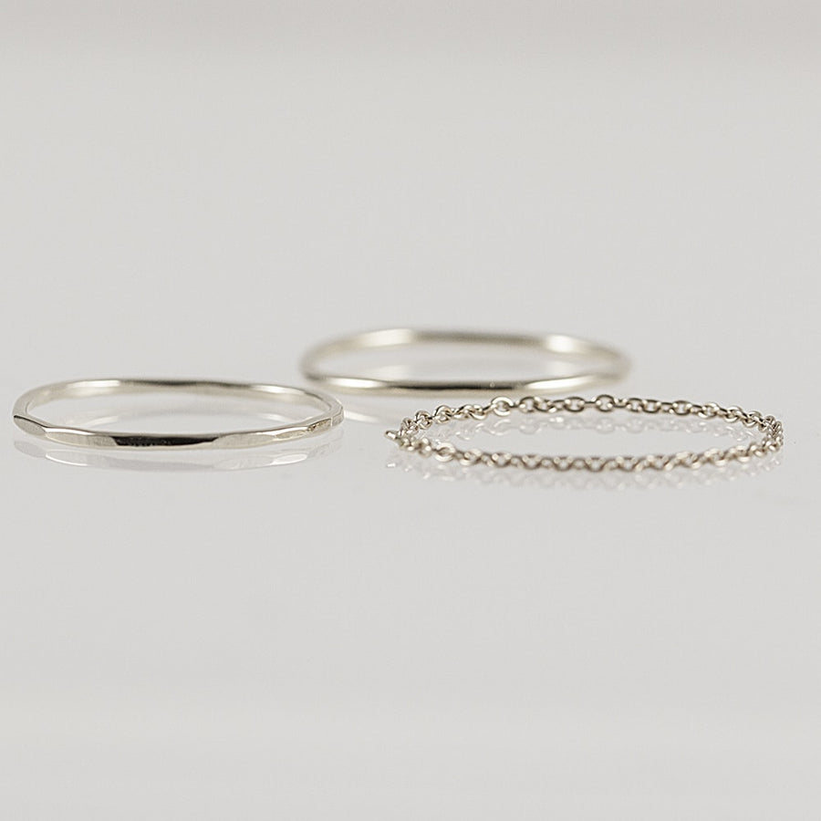 Stacking Rings Set in Solid White Gold