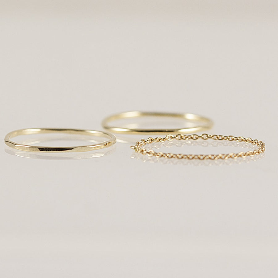 Stacking Rings Set in Solid Yellow Gold