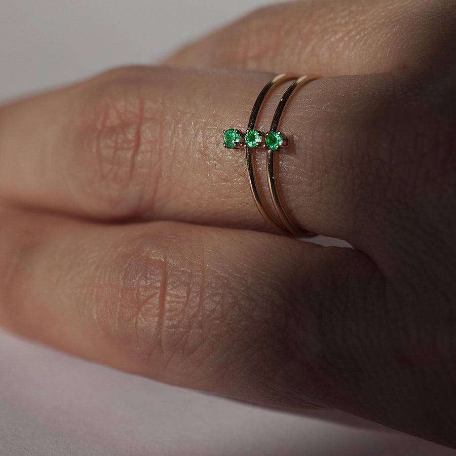 Double Twinkle Emerald Ring in Solid Gold