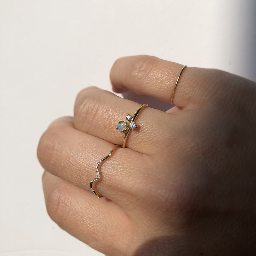Opal Cluster Ring in Solid Yellow Gold