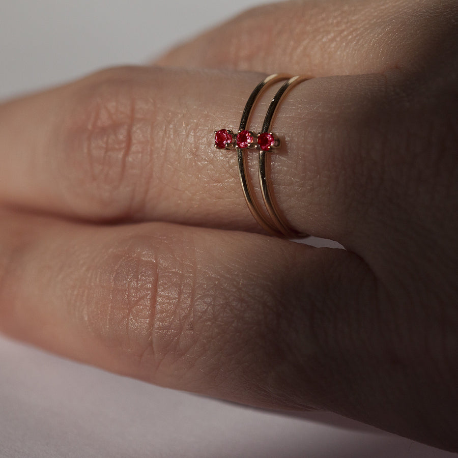 Double Twinkle Ruby Ring in Solid Gold