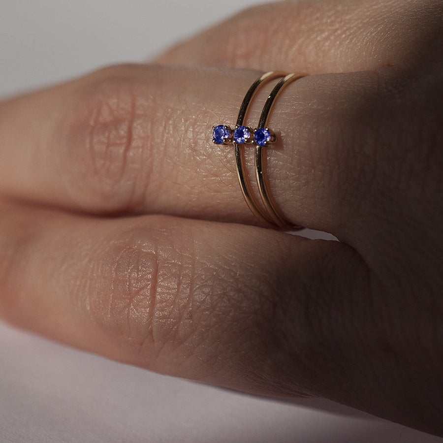 Double Twinkle Blue Sapphire Ring in Solid Gold