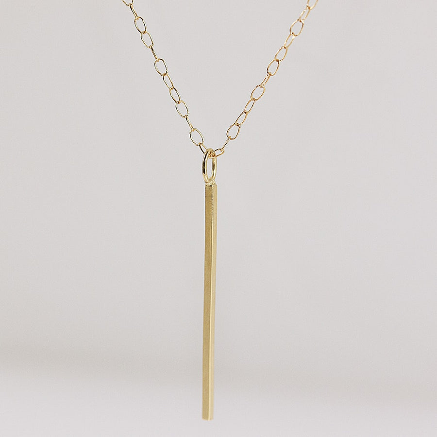 Vertical Bar Necklace in Solid Yellow Gold