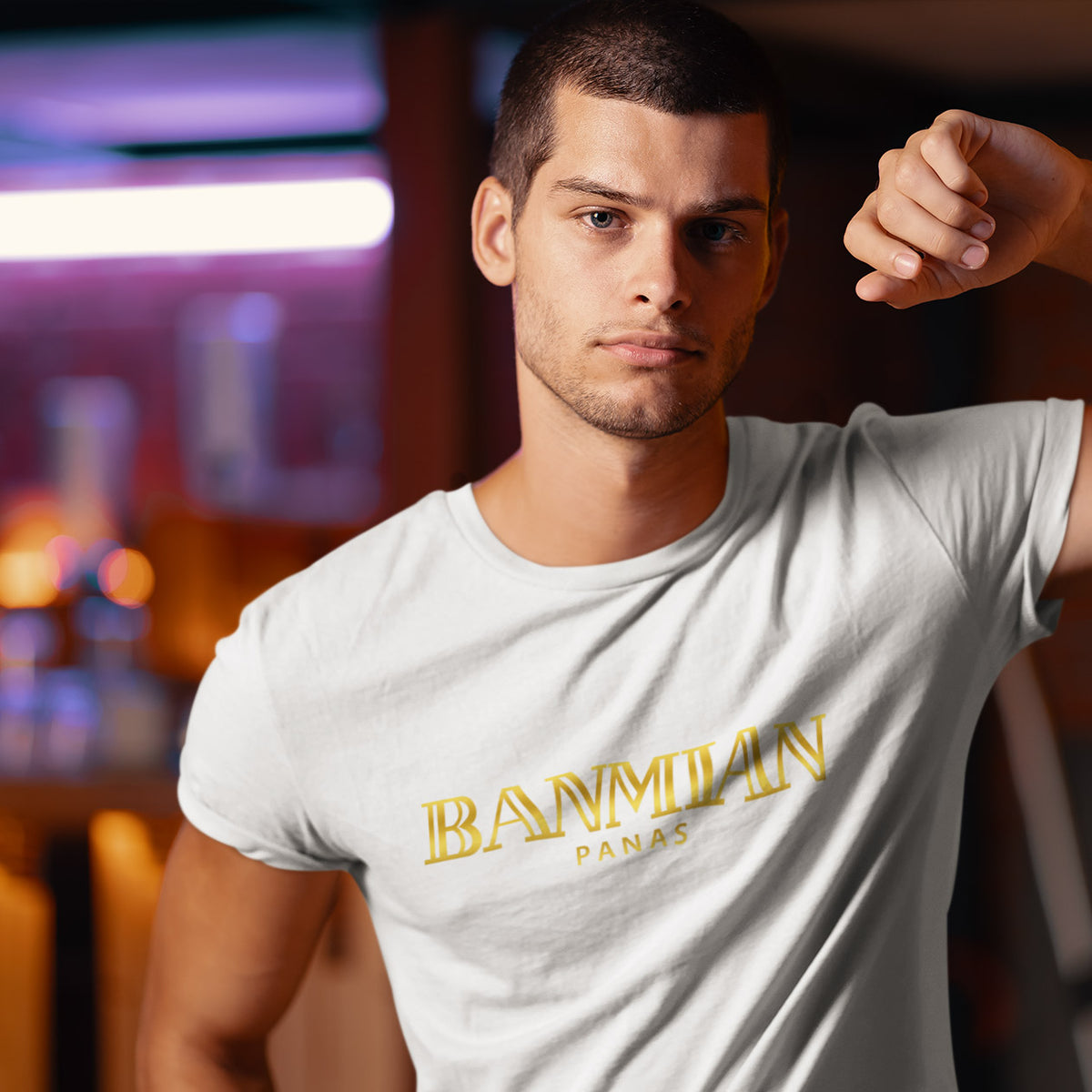 (Exclusive Gold Edition) Banmian Panas Crew Neck Short Sleeve T-shirt