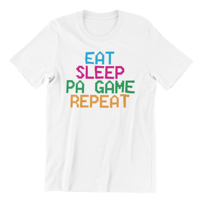 Singapore funny tshirt Eat Sleep Pa Game Repeat, White by Kaobeiking, Singapore tshirt designer