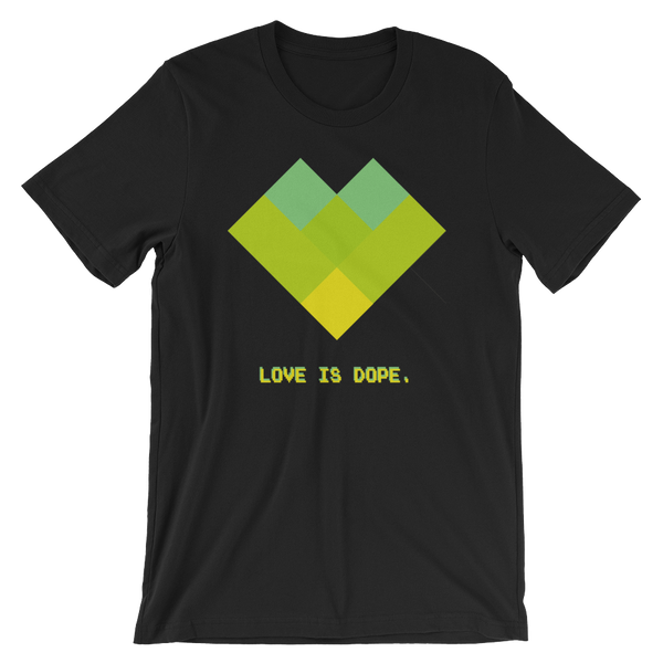 Love is Dope, t-shirt, pixel art, heart, 90s aesthetic