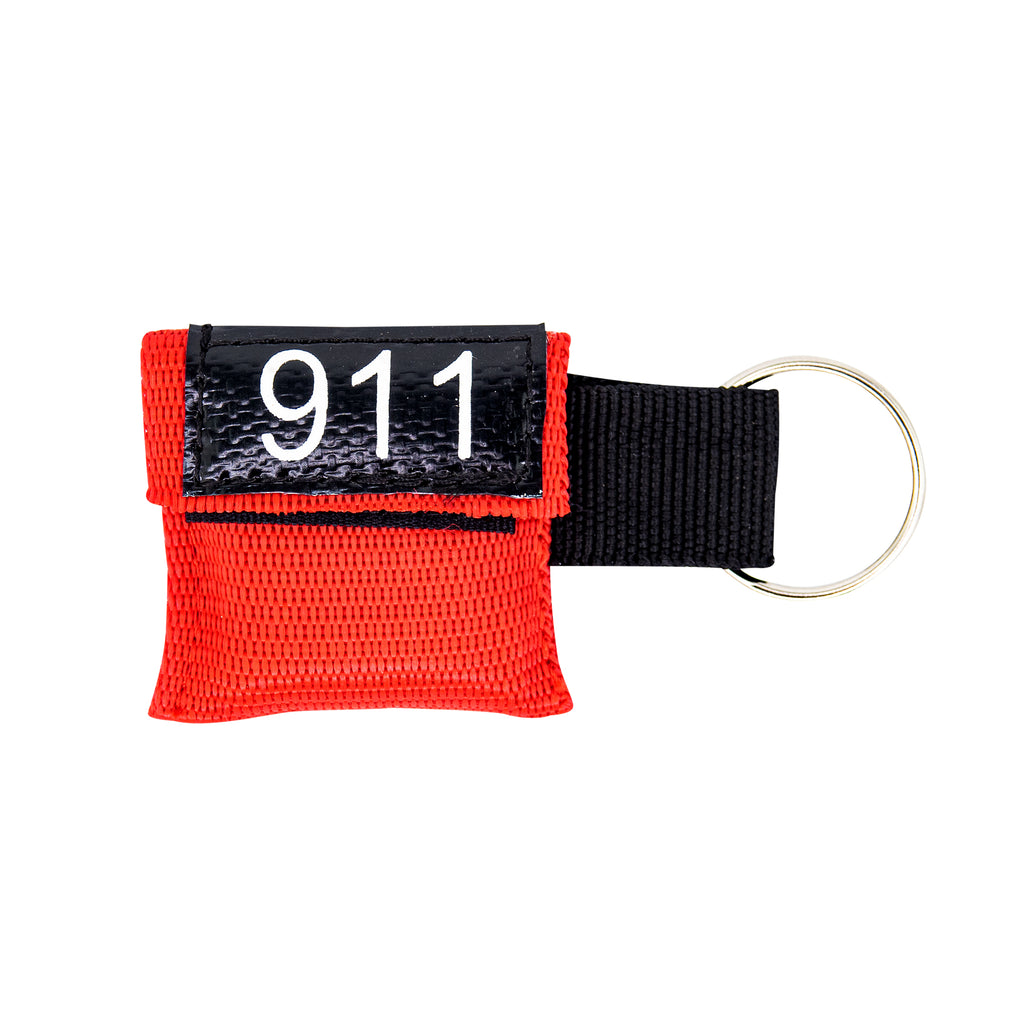 LINE2design Emergency Rescue Mini 911 CPR Mask Keychain Case with One-Way Valve & CPR Face Shield - Red