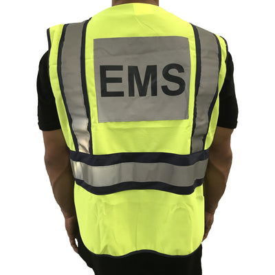 LINE2design EMS Safety Vest ANSI Polyester Fabric Yellow with Reflective Trim, Outlined in Navy - LINE2EMS - Safety Vest