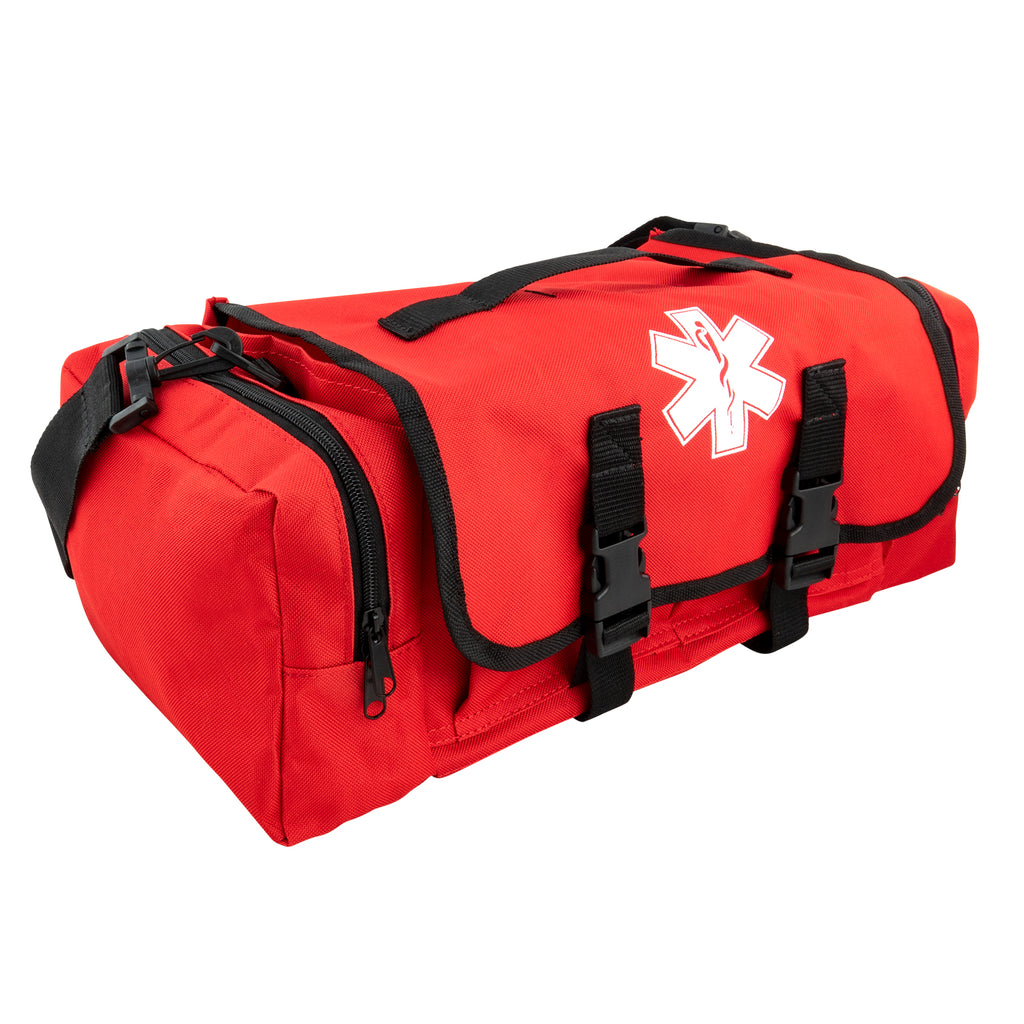 LINE2design First Aid Responder Emergency Star of Life Logo Medical EMS Bag with Zippered Pockets & Shoulder Straps