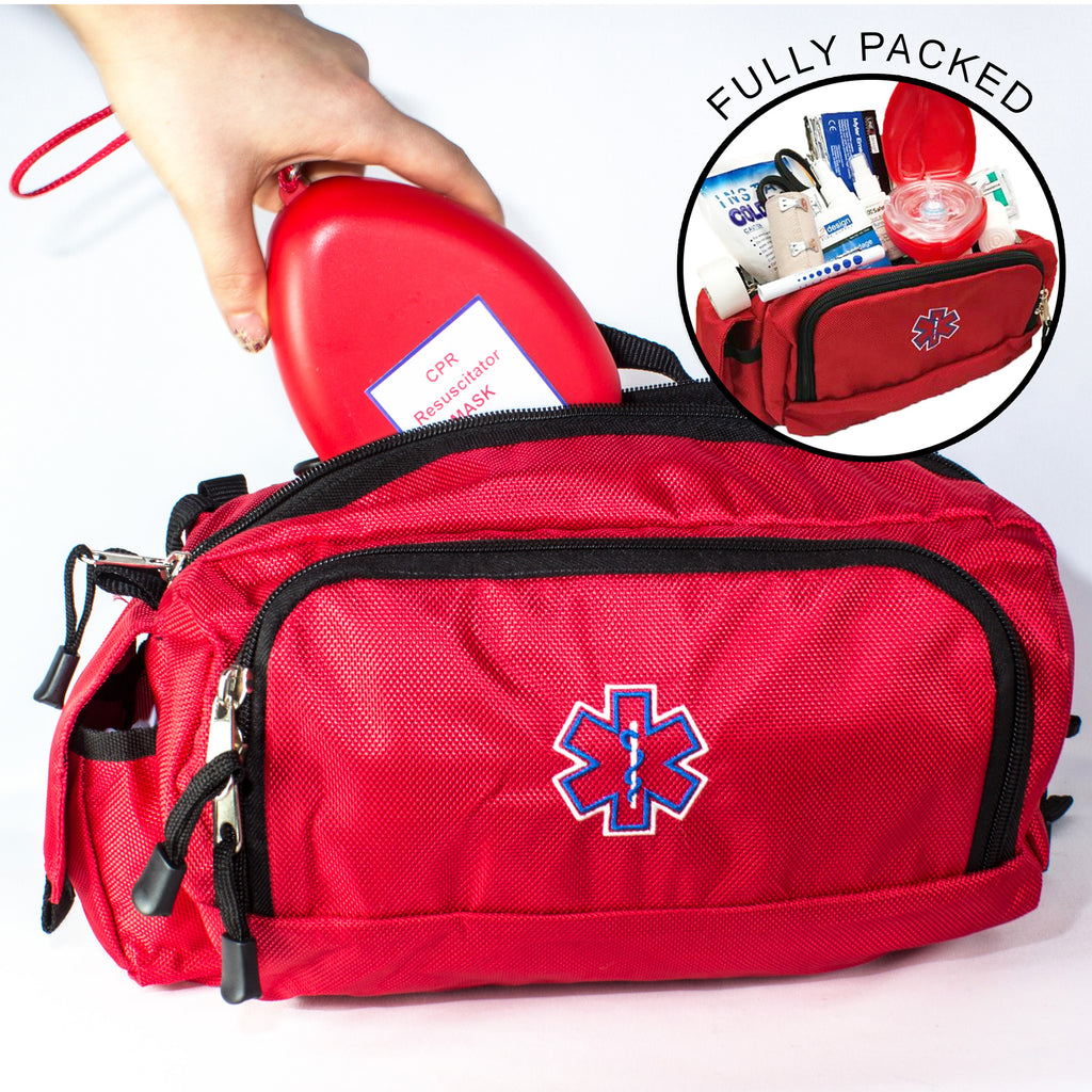 LINE2design Deluxe Emergency First Aid Kit - Convertible Fanny Pack Style - LINE2EMS - Medical Equipment Kit