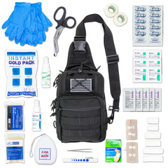 LINE2design Emergency Medical Sling MOLLE Backpack Kit, Stop Bleeding First Aid Kit-Black