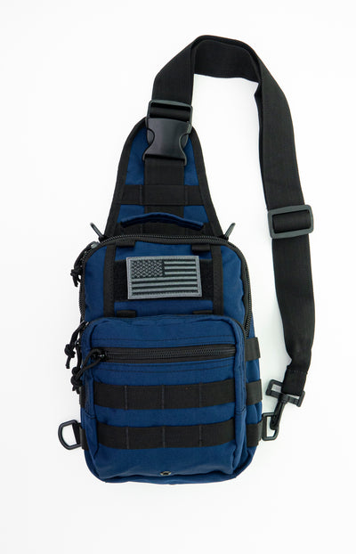 LINE2design Sling Backpack, Bleeding Control Sling Bag, Over The Shoulder Sling Backpack, MOLLE Bag for First Aid Day Pack - Navy