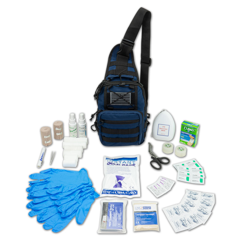 LINE2design Emergency Medical Sling MOLLE Backpack Kit, Stop Bleeding First Aid Kit-Navy
