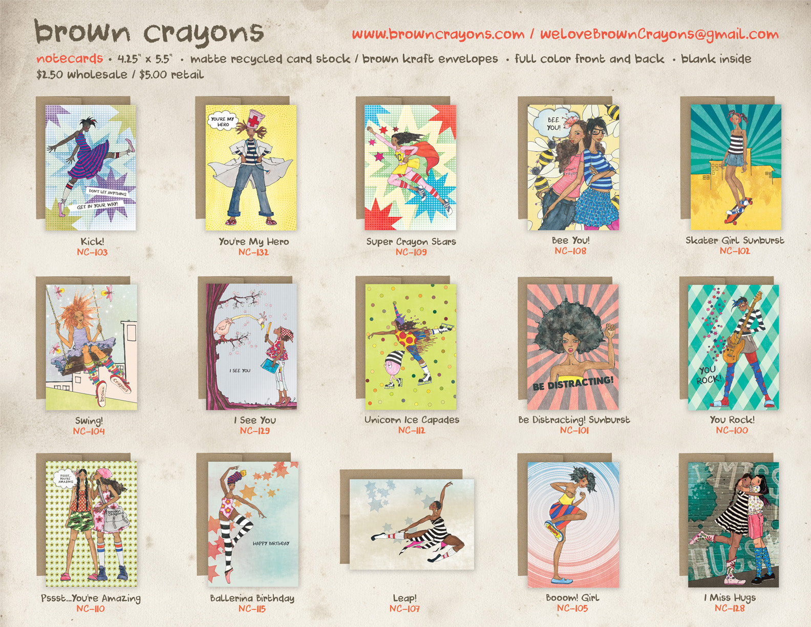 brown crayons wholesale line sheet - notecards