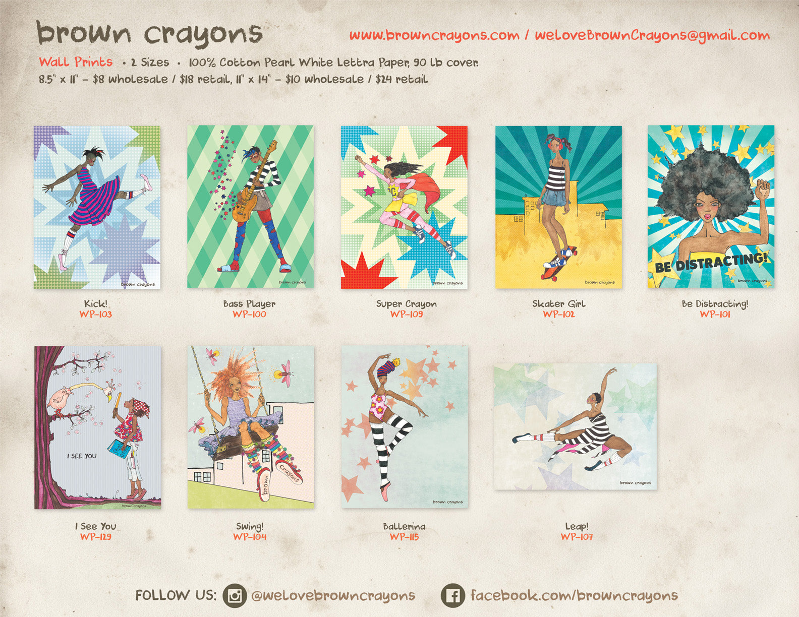 brown crayons wholesale line sheet - wall prints