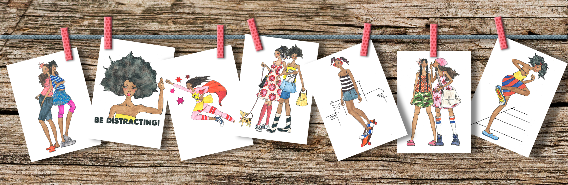 Whimsical Illustrations of Brown Girls on Brown Crayons Note Cards
