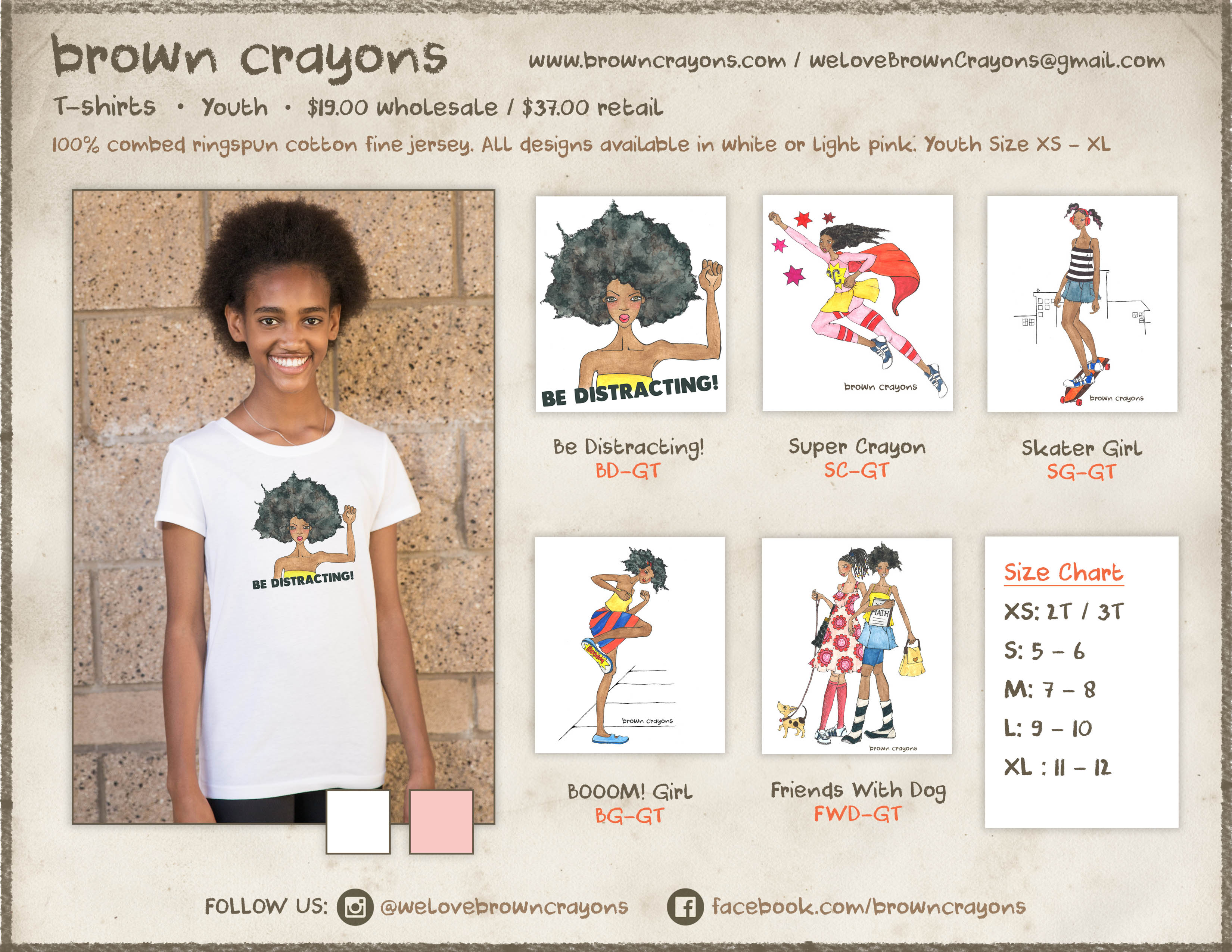Brown Crayons Wholesale Line Sheet Youth T-shirts