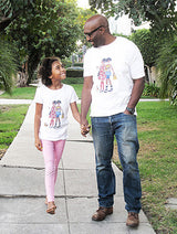 Father and daughter holding hands wearing Brown Crayons t-shirt