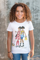 Brown girl wearing white Brown Crayons t-shirt