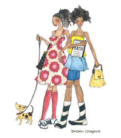Brown Girl illustration of friends with dog