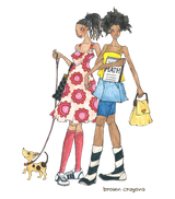 Brown girls with dog illustration