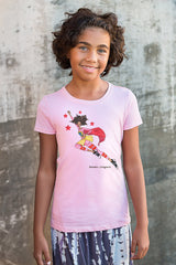 Brown girl wearing pink Brown Crayons Super Crayon t-shirt