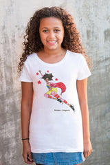 Brown girl wearing white Brown Crayons Super Crayon t-shirt