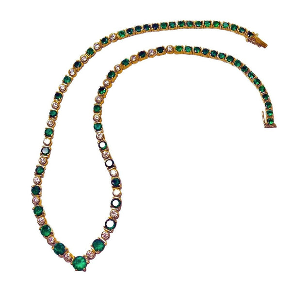 22.00ct AAA+ Colombian Emerald & Diamond Necklace 18k Yellow Gold *Stunning*