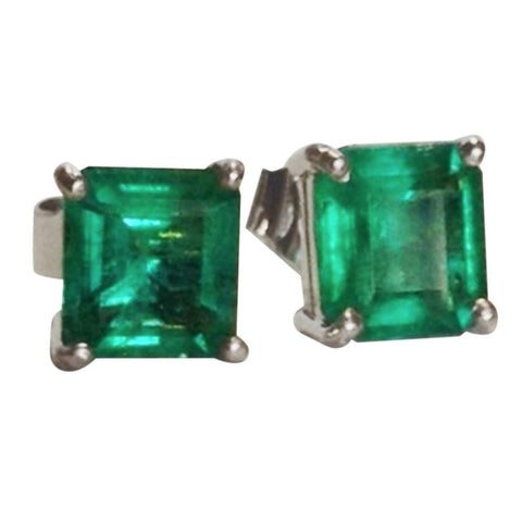1.97ct AAAA+ Green Natural Emerald Stud Earrings 18k White Gold