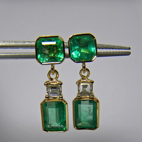 5.95ct Gorgeous Natural Emerald Diamond Dangle Earrings 18k Gold