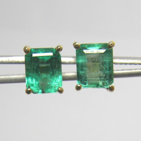 2.49 Ct Natural Emerald Cut Colombian Emeralds Stud Earrings 18k Gold