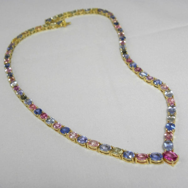 50.00 Carats 100% Natural Multi-Colored Sapphire Necklace 18k Yellow Gold