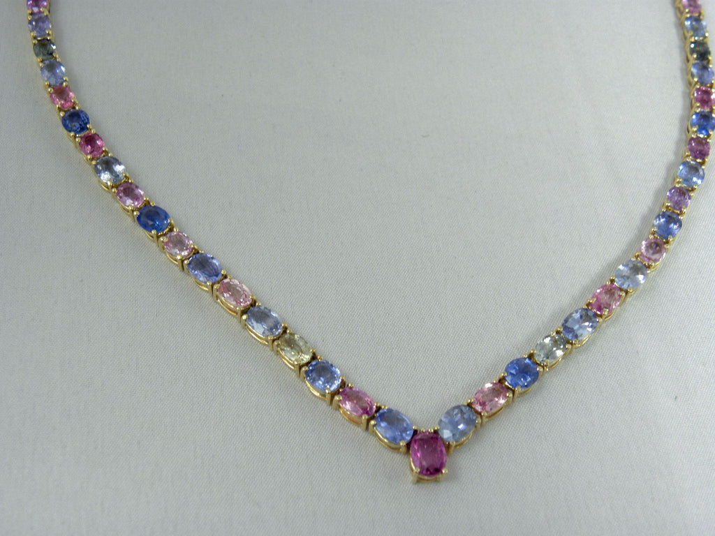 jewelry sapphire handknotted multicolored colored joseph rondelles natural brooks necklace products faceted multi