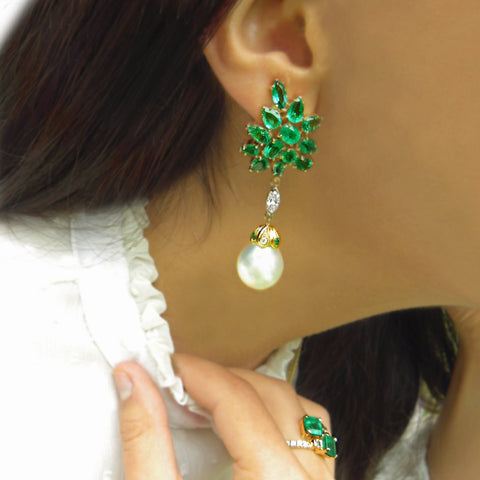 12.87ct Exceptional Emerald Diamond & Pearl Cluster Drop Dangle Earrings 18k