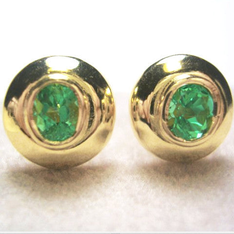 Natural Colombian Emerald Dome Earrings 18k Yellow Gold