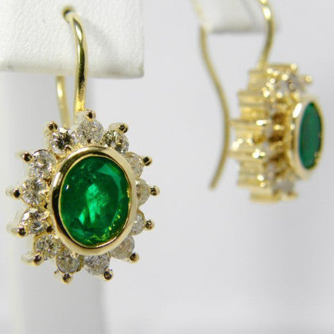 3.70ct  Natural AAA++ Colombian Emerald & Diamond Earrings 18k Gold~ Stunning!
