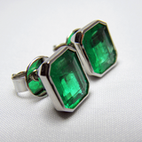 4.60ct AAA+Green Color Natural Emerald Stud Earrings 18k White Gold~ One Of Akind