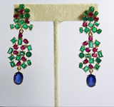 19.40ct Tutti Frutti Burma Sapphire Colombia Emerald Ruby Dangle Earrings 18K