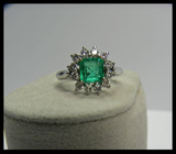 1.72ct Natural AAA+ Fine Colombian Emerald Diamond Engagement Ring 18K White Gold