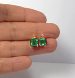 3.26ct AAA Natural Green Colombian Emerald Stud Earrings 18k Rose Gold