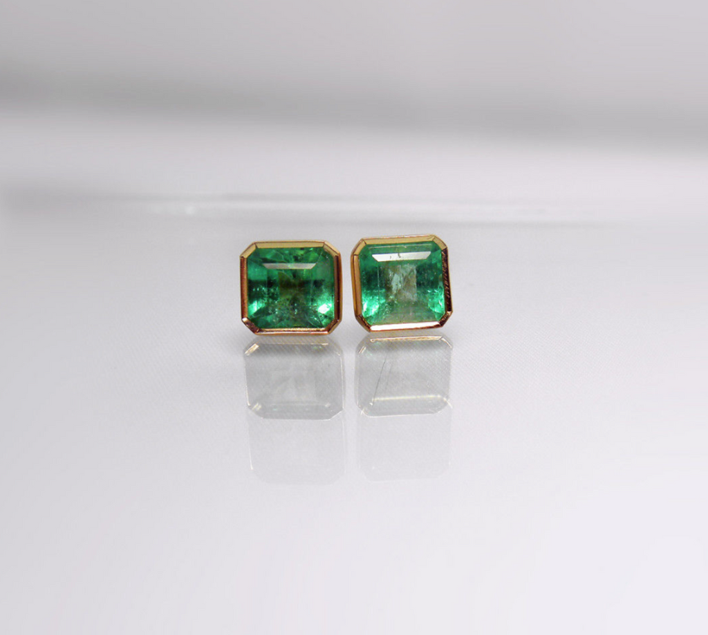 white products aaa pm studs shot one gold earrings screen color at quality natural of emerald green stud colombian high akind